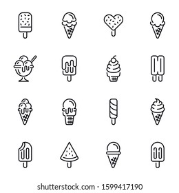 Ice cream vector thin line icons set. Icecream scoops in waffle cones linear illustrations pack. Italian gelato, frozen juice, sundae with topping and cherry. Cold dairy desserts assortment pictograms