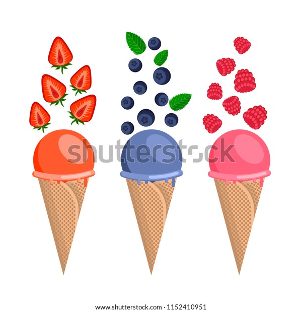 Ice cream in waffle cone with berries vector illustration.  Set of three cone with strawberries, blueberries, raspberries. Flat style isolated on vhite background vector design