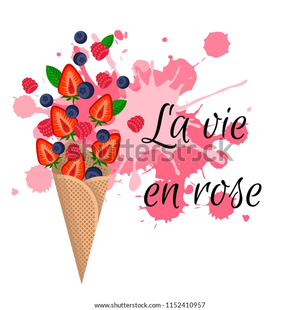 """Ice cream in waffle cone with berries vector illustration. Colorful splashes Flat style vector  design for banner, card, social media post. """"Life in pink"""" sign on French language"""
