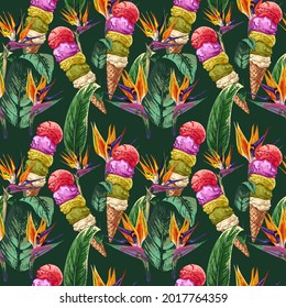 ice cream, waffle cone and many balls, tropical plant, strelitzia leaves and flowers, summer banner design, colorful summer seamless pattern