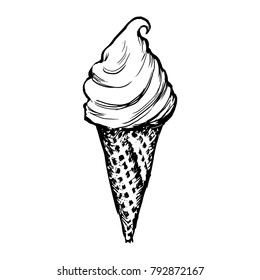 Ice Cream Waffle Cone Skecth. Hand Drawn Icecream Icon On White Background Vector Illustration. Engraving Black Soft Serve Ice Summer Dessert Isolated