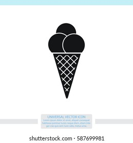 Ice cream in waffle cone vector icon.