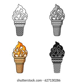 Ice cream in waffle cup icon in cartoon style isolated on white background. Ice cream symbol stock vector illustration.