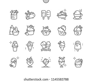 Ice cream Well-crafted Pixel Perfect Vector Thin Line Icons 30 2x Grid for Web Graphics and Apps. Simple Minimal Pictogram