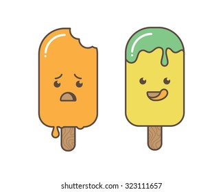 Ice creams cartoon characters.