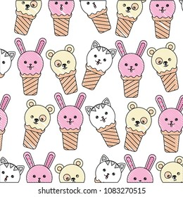 ice creams with faces of cute animals pattern kawaii character