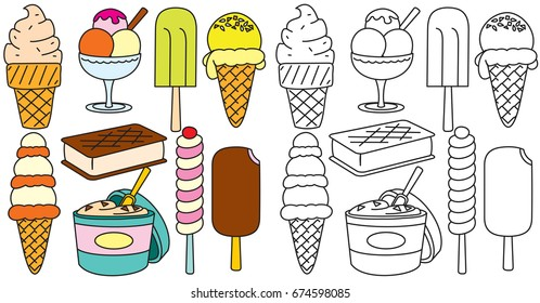 Ice Creams Vector. Hand Drawn Icons Collection. Colored and Contour Sketch Images