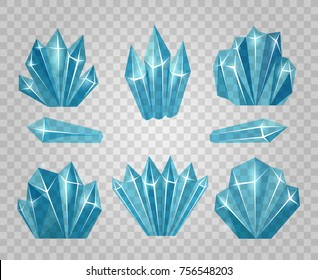 Ice crystals. Icy water cubes isolated on transparent background and icicle cold blocks vector illustration
