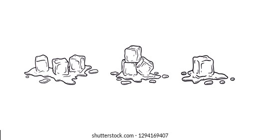 Ice cube melting black outline illustration set vector. Melting ice cubes different set drawing with wet drops and liquid water around. Different shapes and simple cartoon original logo icons.