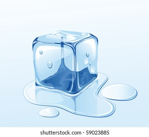 Ice cube on water surface, illustration