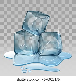 Ice cube, set with transparency Vector illustration