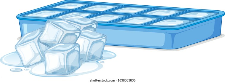 Ice cubes in ice box on white background illustration