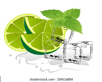 Ice cubes with fresh lime and mint