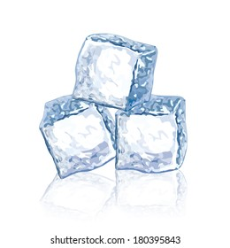 Ice cubes isolated on white photo-realistic vector illustration