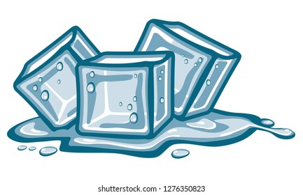 Ice cubes and melted water