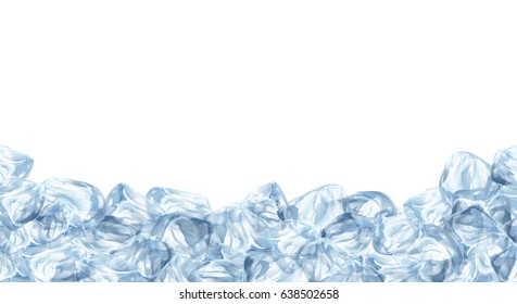 Ice cubes, realistic set, 3d vector illustration. Blue Ice collection, isolated, refresh, white background.