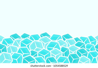 Ice cubes, seamless vector pattern