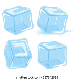 Ice cubes. Vector illustration set on white background.