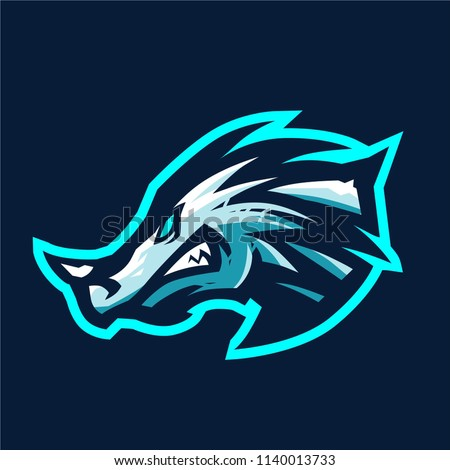 ice dragon esport logo template stock vector royalty free