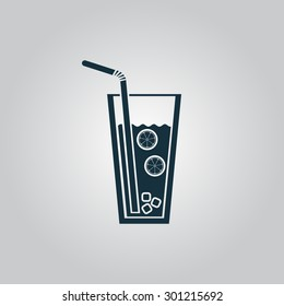 Ice drink with straw. Flat web icon or sign isolated on grey background. Collection modern trend concept design style vector illustration symbol