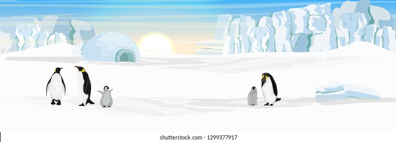 Ice dwelling igloo. Settlement Eskimos. A flock of realistic imperial penguins. Penguins are parents and their chick. The glacier and the snow-covered plain. Landscapes of the Antarctic.