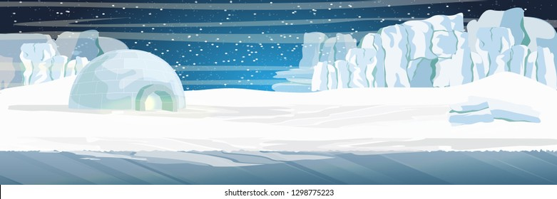 Ice dwelling igloo in the snow-covered plain. Glaciers. Starry night in the North. Vector landscape of the Arctic, Antarctica, Greenland, Alaska or Canada. Northern landscapes.