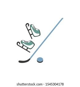 Ice figure skates, hockey puck and stick  isolated on white background, vector decorative set flat style, Side view, cartoon colorful icons for design equipment logo, mobile concept and web apps