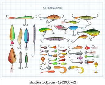 Ice Fishing Lures Jigs Jig Heads Vector de stock (libre de