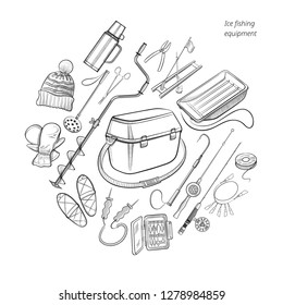 Ice fishing equipment collection - auger, rods and combos, seat box, winter apparel and other devices - big set with hand drawn fishing gear elements - outline vector illustration on white background