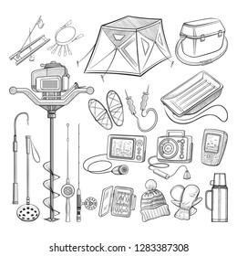 Ice fishing equipment collection - ice auger, shelter, seat box, sonar, flasher, GPS and other devices - big set with hand drawn fishing gear elements - outline vector illustration on white background