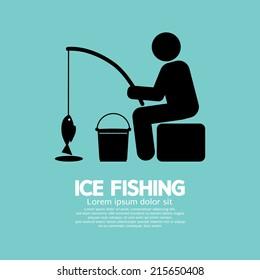 Ice Fishing Graphic Symbol Vector Illustration