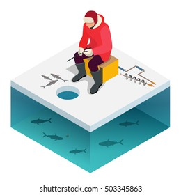 Ice fishing, a man on the ice fishing. Solitude and nature outdoor activities. Isometric flat people.