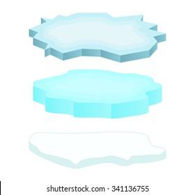 Ice floe icon set, symbol, design. Winter vector illustration isolated on white background.