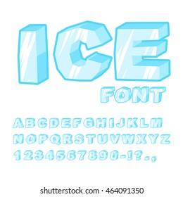 Ice font. Cold letters. Transparent blue alphabet. Frosty ABC. frozen lettering