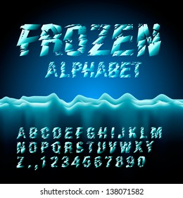 Ice font collection, vector illustration.