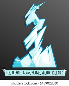 Ice frame. Vector image in flat cartoon style. Isolated