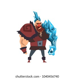 Ice frost powerful man, fantasy magical creature character vector Illustration on a white background