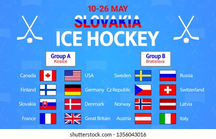 Ice Hockey 2019. Vector illustration. Countries flags icons. Men's ice Hockey group round table. Graphic scoreboard for international tournament. winter sport competition