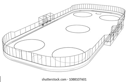 Ice hockey area outline. Vector rendering of 3d. Wire-frame style. The layers of visible and invisible lines are separated