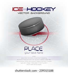 Ice hockey background with puck/vector background, design for your poster, print and other uses