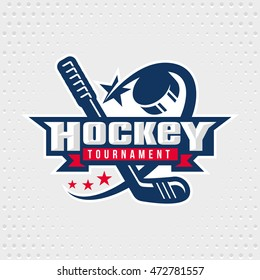 Ice Hockey badge, logo, emblem template