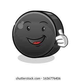 ice hockey ball happy thumbs up cartoon. cute chibi cartoon mascot vector