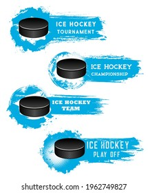 Ice hockey banners, puck on ice arena, match cup vector halftone backgrounds. Ice hockey sport club badges, tournament or championship banners with puck goal in blue paint splash