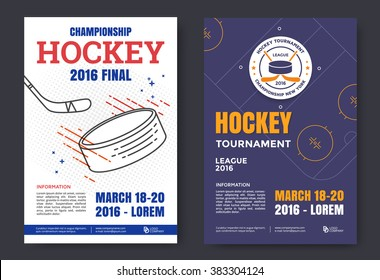 Ice hockey championship poster. Vector line illustration hockey stadium and puck.