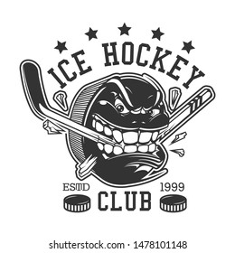 Ice hockey club or college league t-shirt print template. Vector ice hockey sport team mascot badge of rage puck breaking hockey stick with teeth, championship or victory cup tournament game stars