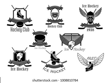 Ice hockey club vector icons set. Isolated symbols of hockey-stick and puck, goalkeeper mask and goal gates and ice skate with wings and ribbons. Badges for tournament championship labels design