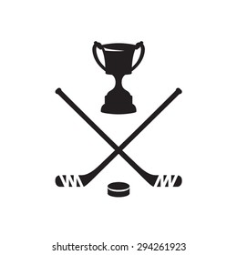 Ice hockey cup, puck and hockey stick . Vector illustration