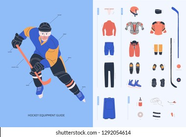 Ice hockey equipment guide for adult male player. Isolated flat vector illustration. Infographic with man in uniform and hockey necessary equipment such as under armour clothes, armour, helmet
