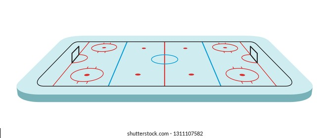Ice Hockey field isometric vector illustration on white