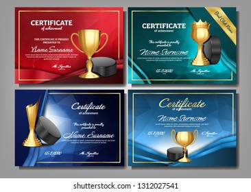Ice Hockey Game Certificate Diploma With Golden Cup Set Vector. Sport Award Template. Achievement Design. Honor Background. A4 Horizontal. Graduation. Champion. Best Prize. Winner Trophy. Illustration